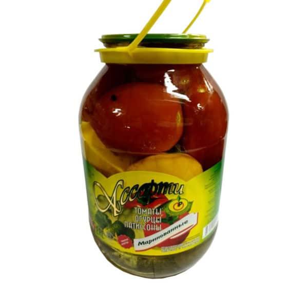 """Ассорти №7(томаты,огурцы,патиссоны) маринов. """"Лучшие рецепты"""""""